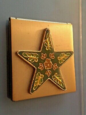 "Vintage Compact Double Mirror 1950s? Discolored Glass 1-3/4x1-7/8"" Star"