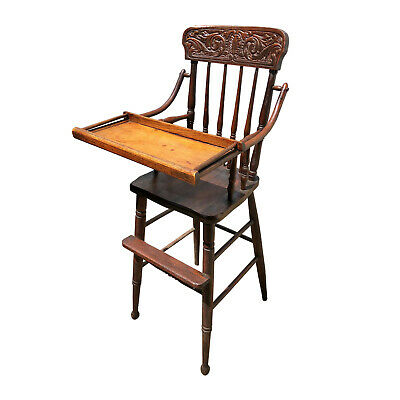 Antique Victorian Carved Walnut Child's High Chair