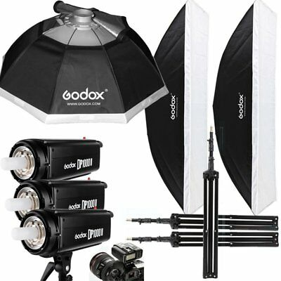 3Pcs Godox DP1000II 1000W Studio Flash Strobe + Trigger + Softbox + Stand Kit