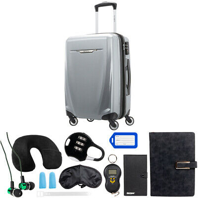Samsonite Winfield 3 DLX Spinner 56/20 Carry-On - (Silver) w/ 10Pc Accessory Kit