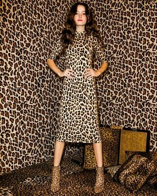 4109d6b7e112 2019 Alice Olivia Delora Fitted Mock Neck Leopard Dress $330 Sz 4 Small