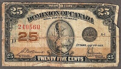 1923 Dominion of Canada - 25 Cents Shinplaster Note - Good - DC24C - 240560