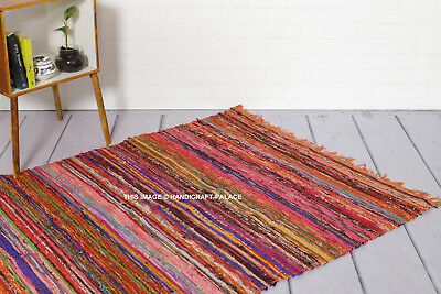 100% Cotton Handmade Orange Colour Chindi Rug Area Rag Rugs Flat Weave Mat 5X7ft