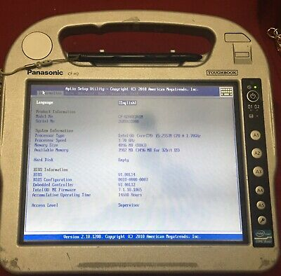 Used Panasonic Rugged Tablet CF-H2 Tablet PC, i5-2557 @ 1.70GHz, 4GB C GRADE.