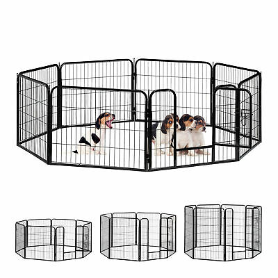 Flexible Puppy Whelping Pen, Exercise Kennel, Steel Playpen, Black