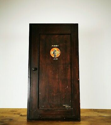 Vintage Antique circa 1940s Oak First Aid Cabinet Wall Cupboard