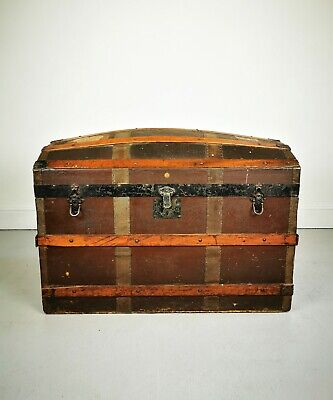 Vintage Late 19th Century Oak Banded Domed Top Storage Travel Trunk / Chest
