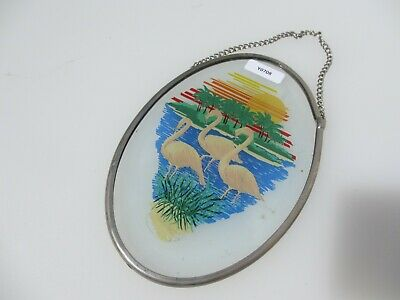 Stained Glass Window Hanger Leaded Panel Old Flamingos Birds Palm Trees Nature