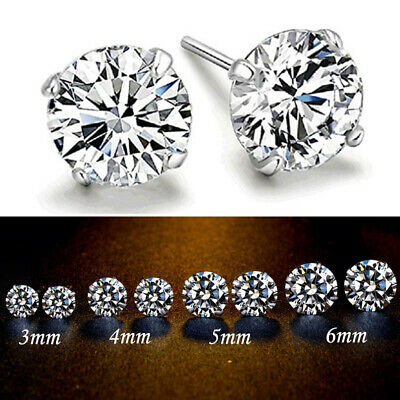 3/4/5/6mm 925 Solid Silver Classic Crystal Stud Earrings Cubic Zirconia Ear Gift