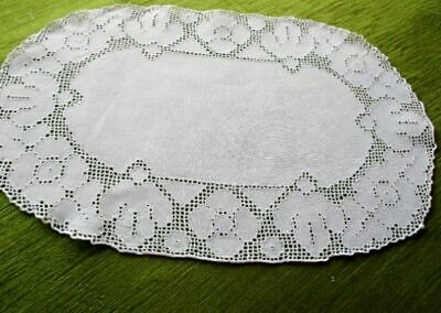 ANTIQUE TRAY CLOTH with PUNCH WORK EMBROIDERY - OVAL - LINEN