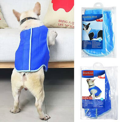 Dog Puppy Cats Kittens Pets Cool Cooling Jacket Coat Vest for Hot Days XS-L Blue