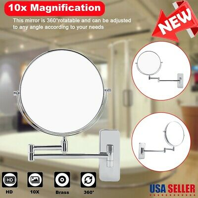 """8"""" Folding Wall Mount Double Side 10X Magnifying Bathroom Cosmetic Makeup Mirror"""