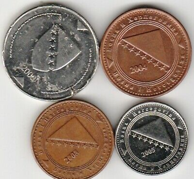 4 different world coins from BOSNIA