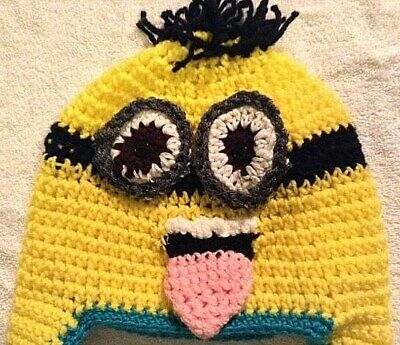 e25fcd159509ae Despicable Me Minion Handmade Yarn Knit Cap Beanie with Pom-Pom Yellow and  Blue