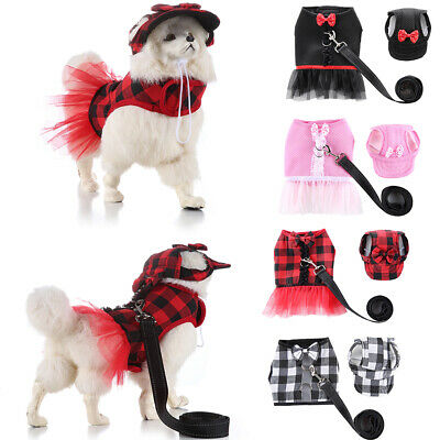 Pet Clothes Dogs Cats Tutu Skirts + Hat + Leash Harness Vest Set Pet Party Dress
