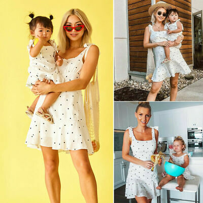 UK Family Dress Mother and Daughter Matching Girls Outfits Clothes Dresses