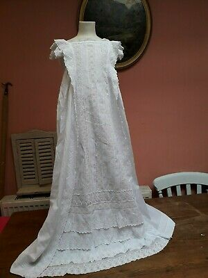 Antique Christening Gown Dress Embroidery Ruffles Baby Doll White Cotton