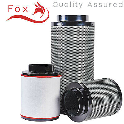 "Hydroponics Fox Carbon Filter 2 5 6 8 10 12"" Inch Grow Room Odour Control UK"