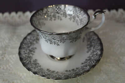 Royal Albert Silver Design Tea Cup And Saucer