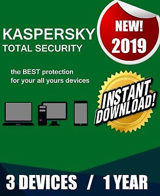 Kaspersky Total Security 2019 3 Pc Devices 1 Year  Best Antivirus Genuine Code