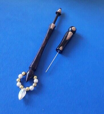 African Blackwood Lace Bobbin and Pricker. Spangles.