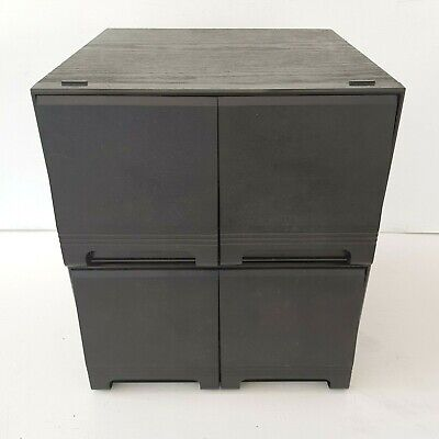 Vintage Retro Black Ash Wood Effect CD Storage Holder Case 2 Drawer x 2 Holds 80
