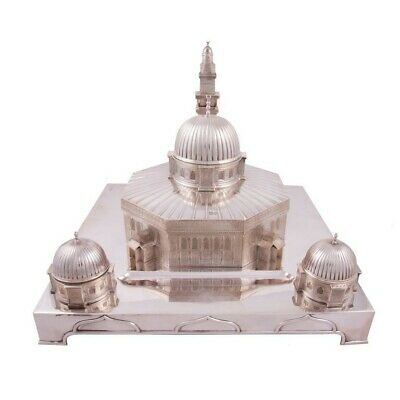 Antique English Silver Inkstand, 'Dome Of The Rock' Jerusalem, London – 1898