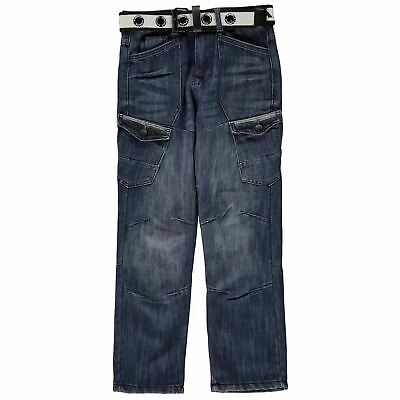 Airwalk Kids Boys Belted Cargo Jeans Junior Straight Pants Trousers Bottoms