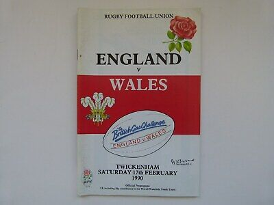 ENGLAND v WALES - FIVE NATIONS RUGBY PROGRAMME - 17 FEBRUARY 1990