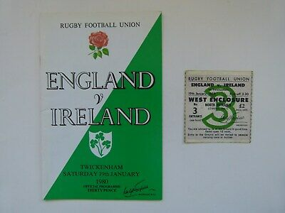 ENGLAND v IRELAND - 5 NATIONS RUGBY PROGRAMME - 19 JANUARY 1980 + PLUS TICKET