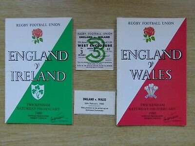 ENGLAND v WALES - 5 NATIONS RUGBY PROGRAMME - 16 FEBRUARY 1980 +PLUS TICKET STUB