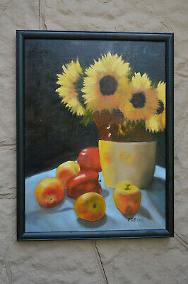 Sunflowers & Apples stoneware pitcher still life original Oil Painting signed