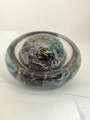 Signed Robert Eickholt 1992 Gold & Speckled Dome / Bubble Art Glass Paperweight