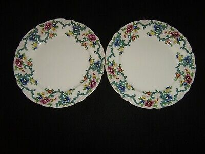 2 ROYAL CAULDON Victoria 10 1/2 Inch Dinner Plates
