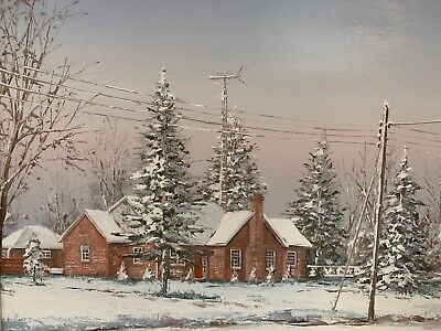 BEN JENSEN~Original Oil Painting~Winter Cottage Scene~Fine Art~Canada~Circa 1980