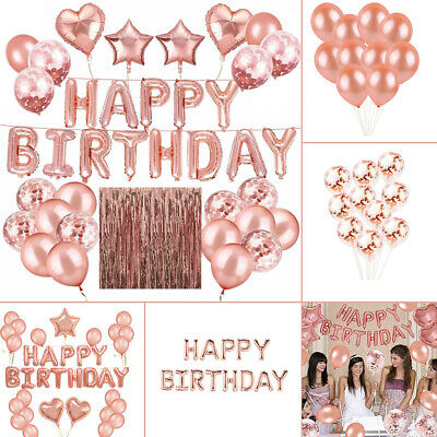 Happy Birthday Balloons Bunting Banner Set Hen Party Decor Boy Girl Rose Gold UK