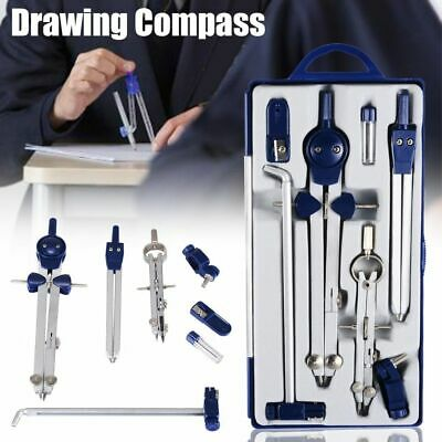 Professional Drawing Compass Circle Ruler Math Geometry Drafting Metal Bow Set