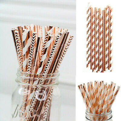 25-200Pcs Rose Gold Wedding Birthday Babyshower Hen Party Paper Straws Tableware