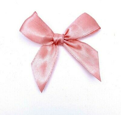 ROSE GOLD 6cm Pre Tied Satin Bows 20mm Wide Ribbon 6 or 12 Pack