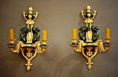 Rare Pair Of Empire Stile Gilt Bronze  Wall Lights 19th Century