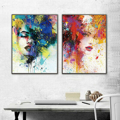 ITS- Colorful Graffiti Girl Canvas Wall Painting Picture Art Cafe Home Decor Eye