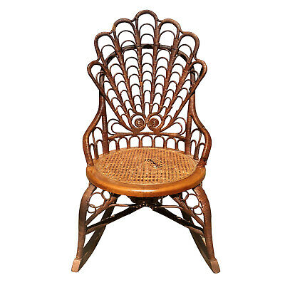 Vintage Boho Chic Ornate Rattan Rocking Chair with Cane Seat