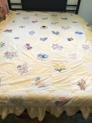 Vintage Handmade Embroidered Bedspread Patchwork Quilt Lemon Yellow Floral Twin