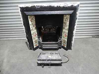 FIREPLACE CAST IRON INSERT - floral tile inlay with log fire insert, 6k