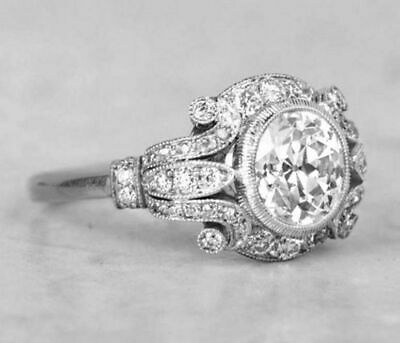 Certified 2.95 Ct Round Diamond Antique Art Deco Engagement Ring 14K White Gold