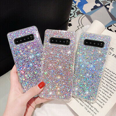 For Samsung Galaxy S10 Plus/S10e/Note 10+ Phone Case Bling Glitter Rubber Cover