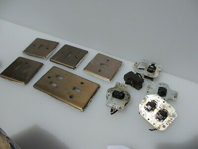 Vintage Light Switch Square Brass Plate Plastic Toggle 1950-60s MK Retro Old
