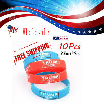 10pks Keep Make America Great Trump 2020 President Bracelet Silicone Wristband