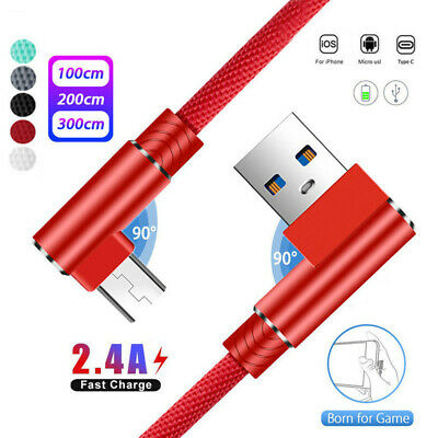 Double 90° Elbow Rapid Chager USB Cable Wire For Samsung Galaxy S8 S9/S9 Plus