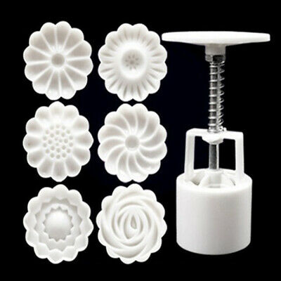 6 Rose Flower Stamps Moon Cake Decor Mould Round Mooncake Mold DIY Tool 50g qwe